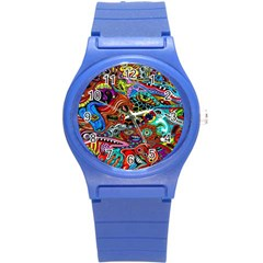 Vector Art Pattern Round Plastic Sport Watch (S)