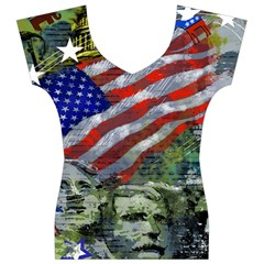 Usa United States Of America Images Independence Day Women s V-Neck Cap Sleeve Top