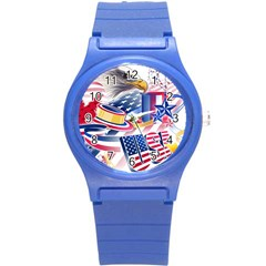 United States Of America Usa  Images Independence Day Round Plastic Sport Watch (S)