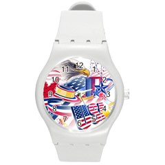United States Of America Usa  Images Independence Day Round Plastic Sport Watch (M)