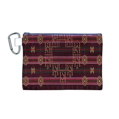 Ulos Suji Traditional Art Pattern Canvas Cosmetic Bag (M)