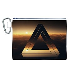 Triangle Penrose Clouds Sunset Canvas Cosmetic Bag (L)