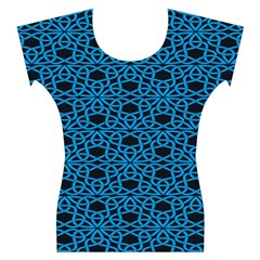 Triangle Knot Blue And Black Fabric Women s Cap Sleeve Top