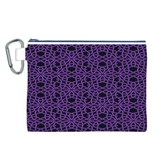 Triangle Knot Purple And Black Fabric Canvas Cosmetic Bag (L)