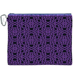 Triangle Knot Purple And Black Fabric Canvas Cosmetic Bag (XXXL)