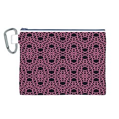 Triangle Knot Pink And Black Fabric Canvas Cosmetic Bag (L)