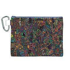 Trees Internet Multicolor Psychedelic Reddit Detailed Colors Canvas Cosmetic Bag (XL)