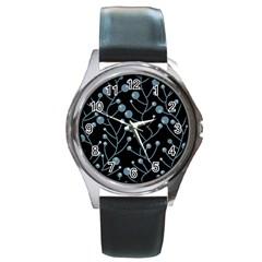 Blue decor Round Metal Watch