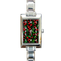 Red Christmas berries Rectangle Italian Charm Watch