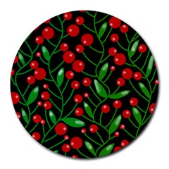 Red Christmas berries Round Mousepads