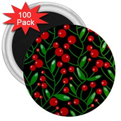 Red Christmas berries 3  Magnets (100 pack)