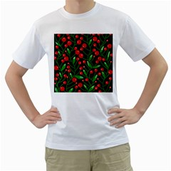 Red Christmas berries Men s T-Shirt (White) (Two Sided)