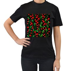 Red Christmas berries Women s T-Shirt (Black) (Two Sided)