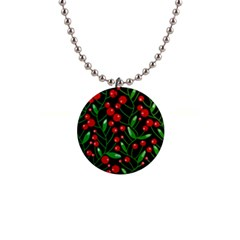 Red Christmas berries Button Necklaces