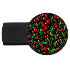 Red Christmas berries USB Flash Drive Round (4 GB)