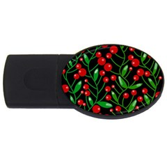 Red Christmas berries USB Flash Drive Oval (4 GB)