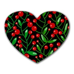 Red Christmas berries Heart Mousepads