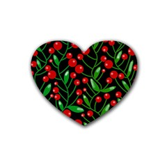 Red Christmas berries Rubber Coaster (Heart)
