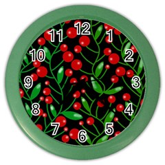 Red Christmas berries Color Wall Clocks