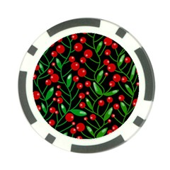Red Christmas berries Poker Chip Card Guards