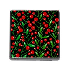 Red Christmas berries Memory Card Reader (Square)