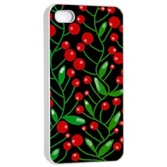 Red Christmas berries Apple iPhone 4/4s Seamless Case (White)