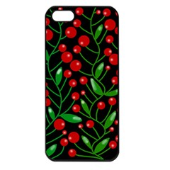 Red Christmas berries Apple iPhone 5 Seamless Case (Black)