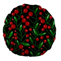 Red Christmas berries Large 18  Premium Round Cushions