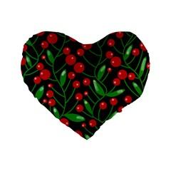 Red Christmas berries Standard 16  Premium Heart Shape Cushions