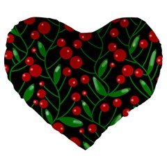 Red Christmas berries Large 19  Premium Heart Shape Cushions