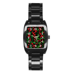 Red Christmas Berries Stainless Steel Barrel Watch