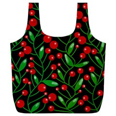 Red Christmas berries Full Print Recycle Bags (L)