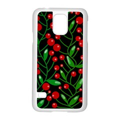 Red Christmas berries Samsung Galaxy S5 Case (White)