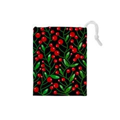 Red Christmas berries Drawstring Pouches (Small)