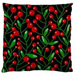 Red Christmas berries Large Flano Cushion Case (One Side)
