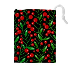 Red Christmas berries Drawstring Pouches (Extra Large)