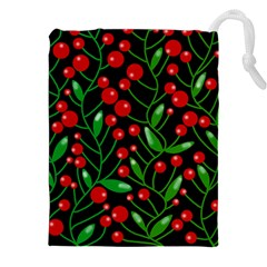 Red Christmas berries Drawstring Pouches (XXL)