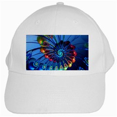 Top Peacock Feathers White Cap