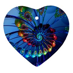 Top Peacock Feathers Ornament (Heart)