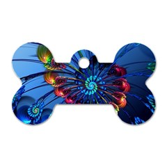 Top Peacock Feathers Dog Tag Bone (One Side)