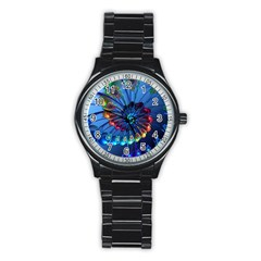 Top Peacock Feathers Stainless Steel Round Watch