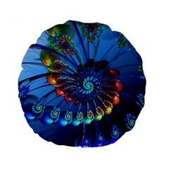 Top Peacock Feathers Standard 15  Premium Flano Round Cushions