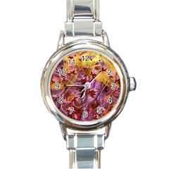 Falling Autumn Leaves Round Italian Charm Watch