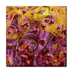 Falling Autumn Leaves Tile Coasters