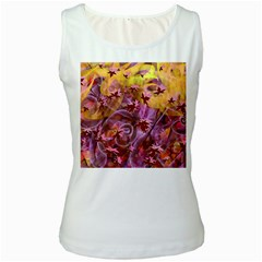 Falling Autumn Leaves Women s White Tank Top