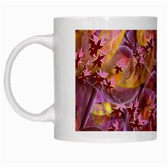 Falling Autumn Leaves White Mugs