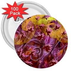 Falling Autumn Leaves 3  Buttons (100 Pack)
