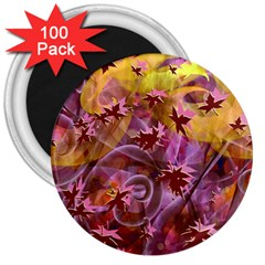 Falling Autumn Leaves 3  Magnets (100 Pack)