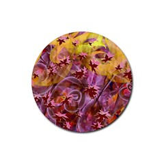 Falling Autumn Leaves Rubber Round Coaster (4 Pack)