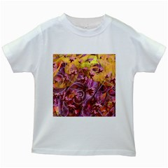 Falling Autumn Leaves Kids White T Shirts